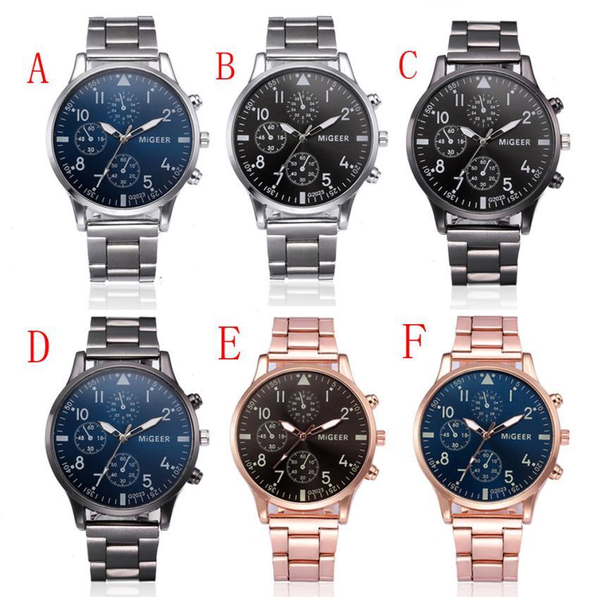 Fashion Men Crystal Stainless Steel Analog Quartz Wrist Watch Bracelet Men's Watches Analog Quartz Male Watches Luxury Hours