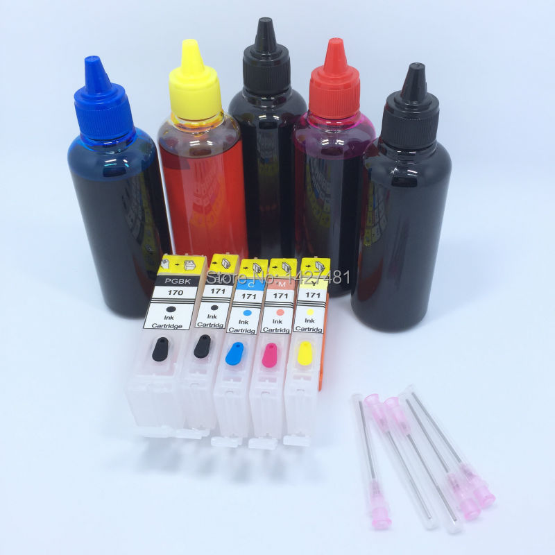 5 * Refill Dye ink + Refillable inkjet cartridge PGI-170 CLI-171 PGI 170 CLI 171 For Canon PIXMA MG5740 MG6840 TS5010 dye refill ink suit for pgi225 cli226 replacement ink suit for canon mg5120 5220 6120 8120 ip4820 mx882 ix6520