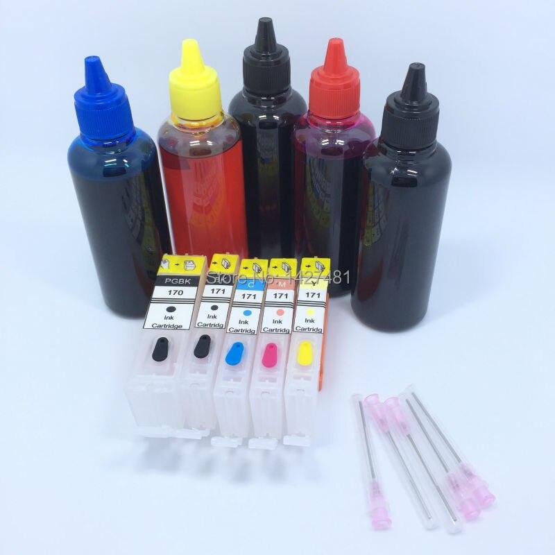 5 * Refill Dye ink + Refillable inkjet cartridge PGI-170 CLI-171 PGI170xl CLI171 PGI 170 CLI 171 For Canon PIXMA MG5740 MG6840  rce5846 refillable ink inkjet cartridge for epson t5846 picturemate pm200 pm240 pm260 pm280 pm290 pm300 p 3000