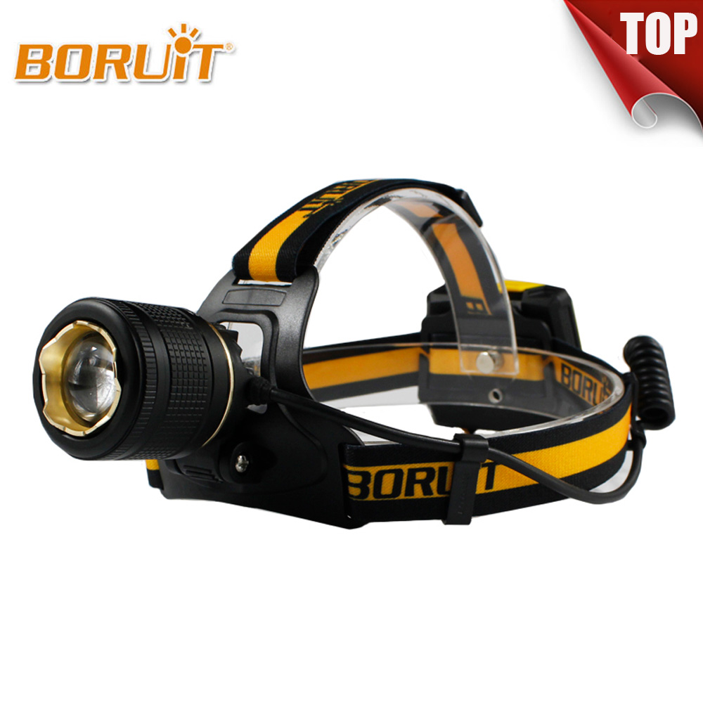 BORUIT 1800LM LED Headlight 4 Modes White Light Headlamp Zoomable Head Lamp Torch Linterna XML L2 AA Battery For Hunting Fishing