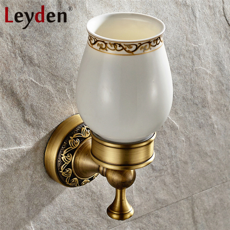 Leyden Antique Brass/ ORB Single Cup Tumbler Holder Vintage Wall Mount Brass Toothbrush Holder Ceramics Cup Bathroom Accessories image