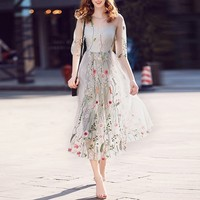 Bohemian Flower Embroidered Dress Evening Party Floral Dresses Gorgeous Half Sleeves Sheer Long Dress