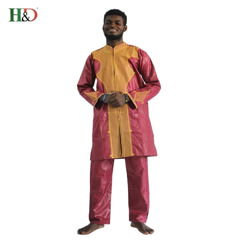 H&D All african sleeve mens traditional clothes Material robe bazin riche africano de bordado hombres camiseta con pantalones