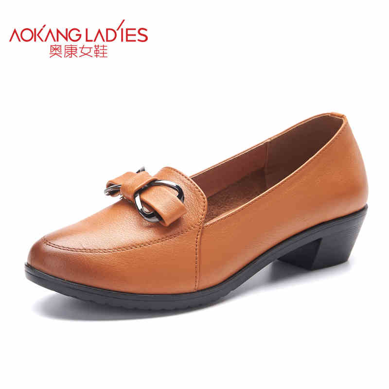 Здесь можно купить   AOKANG 2017 Spring New Arrival Low heel Women shoes genuine Leather shoes woman Ladies Fashion shoes Free shipping Обувь