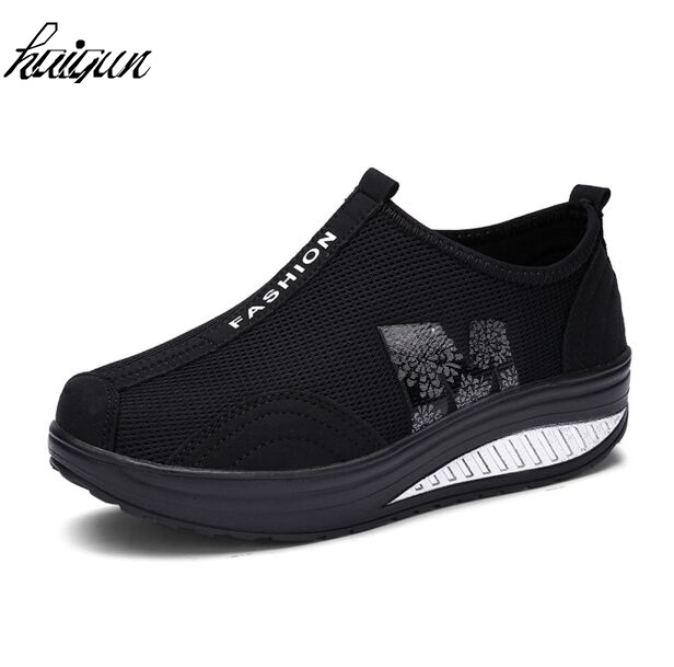 Summer women casual shoes breathable air mesh height increasing slip on wedge platform slimming fitness swing shoes size 35-40 new mesh air women flats summer casual shoes height increasing comfort shoes woman platform ladies shoes
