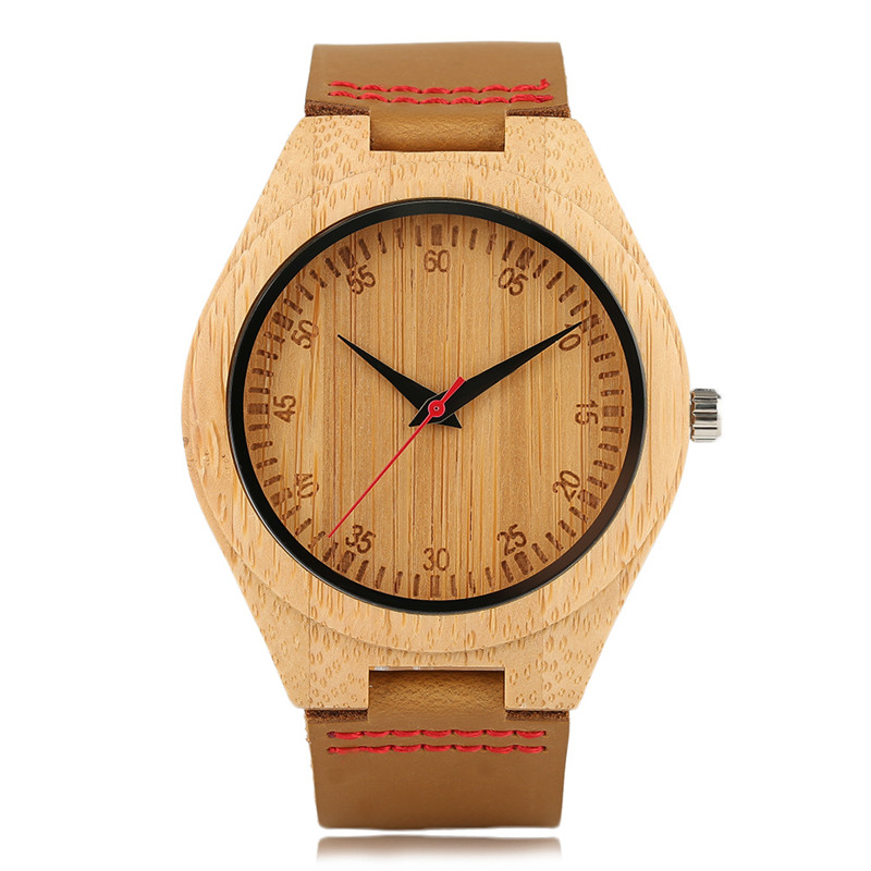 Casual Fashion Hand-made Wooden Men Women Quartz Wristwatch Numeral Genuine Leather Watchband Natural Watch for Male Best Gift simple minimalism casual men quartz wristwatch number dial genuine leather band cost effective natural wooden design male watch