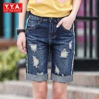 Mid Talia Washed Oversize Hot Spodenki Jeansowe Spodenki Jeansowe Dla Kobiet Plus Size Feminino Duży Plus Size 26 40 Hole Zgrywanie Niebieski szorty