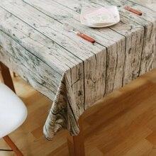 Paño de mesa de grano de madera Vintage de simulación estampado mantel rústico rectangular a prueba de polvo cubierta de mesa decoración lavable