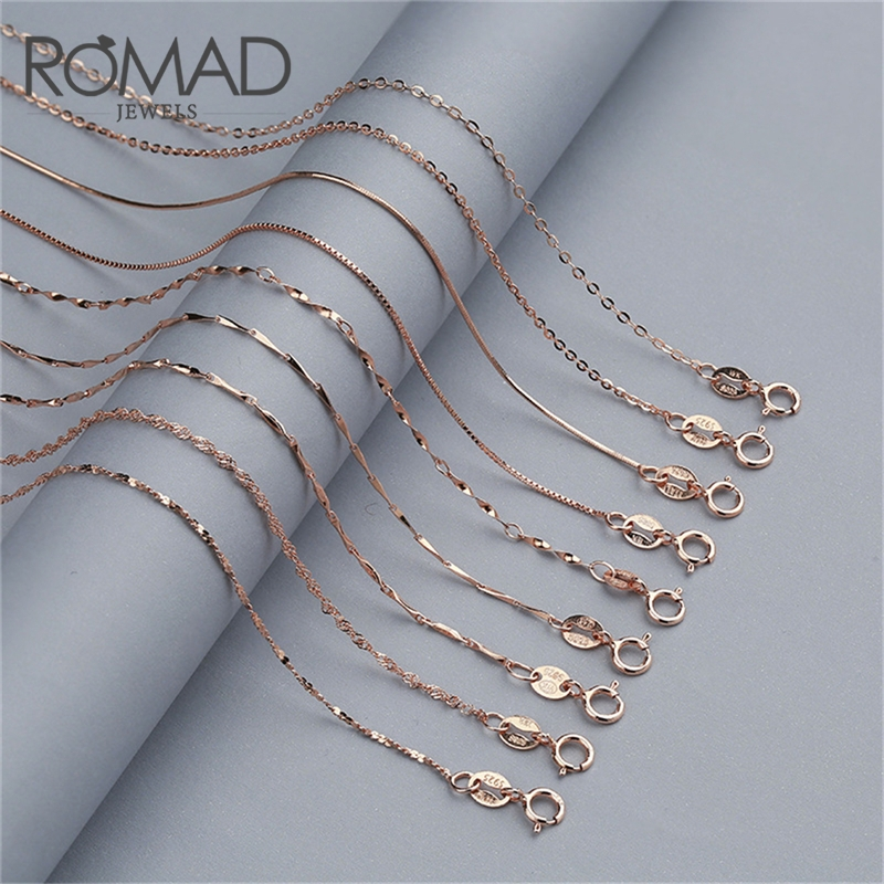ROMAD 925 Sterling Silver Chain Necklace Women Simple collier femme Gold/Rose Gold Color 40/45 cm collar mujer R5