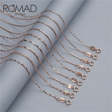 ROMAD 925 Sterling Silver Chain Necklace Women Chain Necklace Simple collier femme Gold/Rose Gold Color 40/45 cm collar mujer R5 недорого