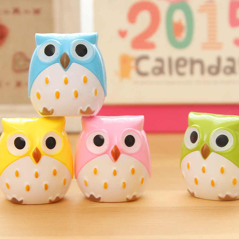 1PC Kawaii Owl Pencil Sharpener Cutter Knife Promotional Gift Stationery Student Double Control Cartoon Pencil Sharpener