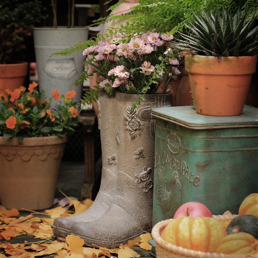 creative Rain boots flowers vase vintage garden High heels shoe flower pot statue crafts balcony decoration large floor vases
