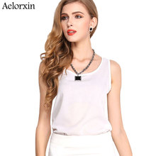 Aelorxin Summer Chiffon Women Shirt Bottoming Shirt Women Sleeveless Sexy Loose Casual Top Vest Camis Blouse New Fashion 2017
