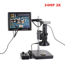 34MP Microscope Camera HDMI USB Industrial 180X C-mount Zoom Lens 60 LED Light with 8 HD LCD Screen For PCB Repair Soldering 2 0mp hd industrielle lab microscope camera vga usb av sortie tv zoom c monture