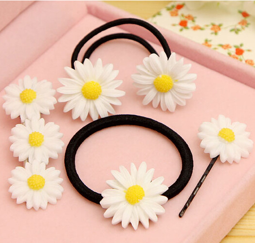 Elastic Hair Bands/Hairclips with Daisy Ponytail Braids  Hair Accessories  girl/women Gum for Hair. various straw sacr