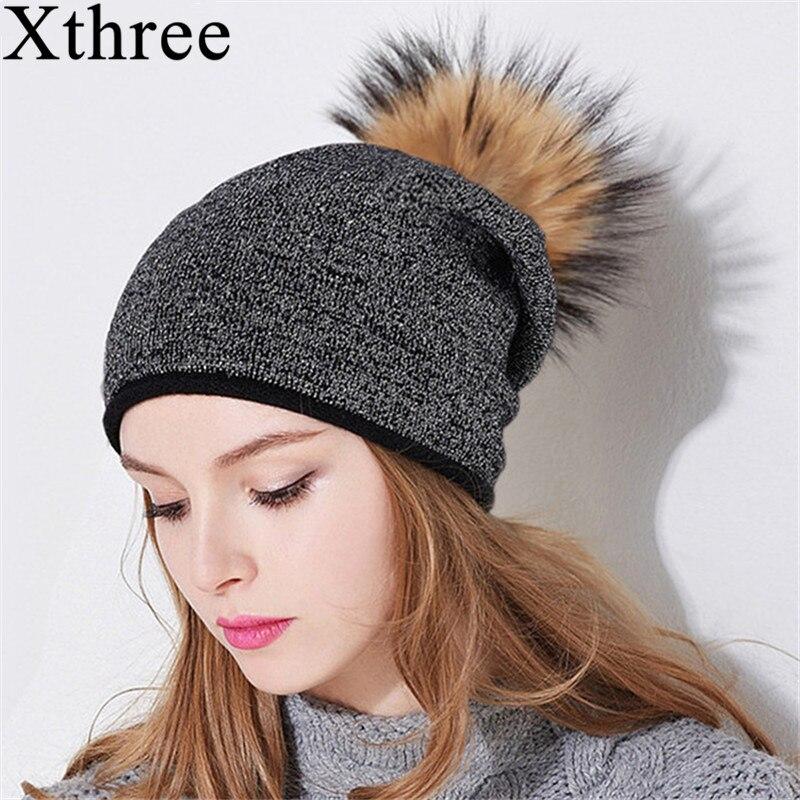 Xthree mujeres invierno sombrero de lana de punto beanie con verdadera piel de visón pom poms Skullie sombrero para las mujeres niñas sombrero cap feminino