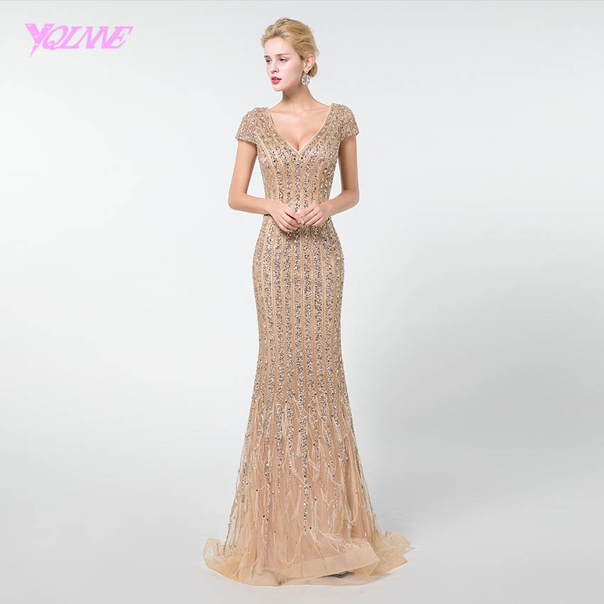 YQLNNE Gold Long   Prom     Dresses   Mermaid 2019 Rhinestones Beadings V-neck Cap Sleeve Formal   Dress