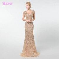 YQLNNE Gold Long Prom Dresses Mermaid 2019 Rhinestones Beadings V neck Cap Sleeve Formal Dress