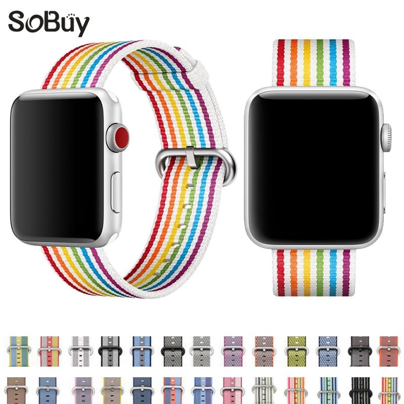 все цены на So buy Pride Edition Woven Nylon band for Apple watch series 1/2/3 38mm sports wrist strap for iWatch bracelet 42mm watchbands онлайн