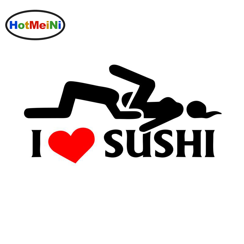 HotMeiNi 12 * 6 cm I Love Sushi Sticker Car Window Truck Door Bumper Decal Vinyl Funny JDM Drift Rally Car Stickers Car Styling
