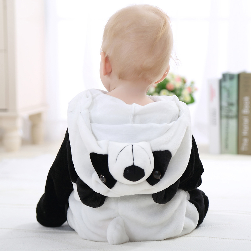 Infant Romper Animal Rompers Baby Boys Girls Jumpsuit  New born Toddler Baby Clothes Hooded  Flannel Stitch Panda Costumes
