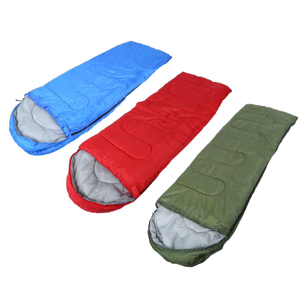 Portable Foldable Envelope Sleeping Bag 170T Water Resistant Polyester Hooded Thin Hollow Cotton Sleeping Bag