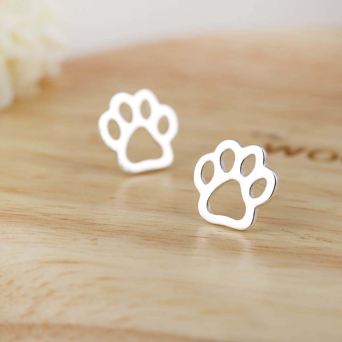 pin post dog paw cat stud earrings tiny print