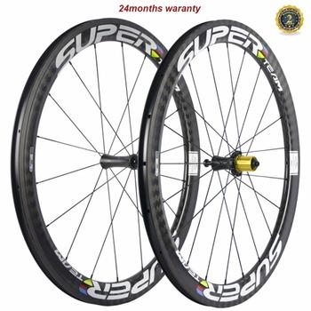 Superteam węgla koła R7 ceramika droga Clincher 50mm X 25mm szerokość U kształt koła rowerowe koła jezdne koło rowerowe tanie i dobre opinie 700c V hamulca Rowery drogowe 12K twill matte WH-R50CF-CN25mm CARBON 18-21H 1 pair of carbon wheels Toray T700 carbon fiber