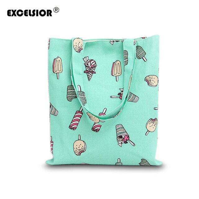 Excelsior холст женщины сумку милый мультфильм мороженое печатных сумки для дамы сумка девушки плеча книга сумка сумки bolsa