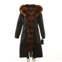 Womens winter long parkas coat jacket fox raccoon fur collar detachable rabbit fur liner hooded black brown green beige 17030