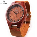 REDEAR Red Sandalwood Wooden Watches Men Luxury Japan Movement Quartz Watch Cowhide Leather Wood Wristwatch Relogio Masculino