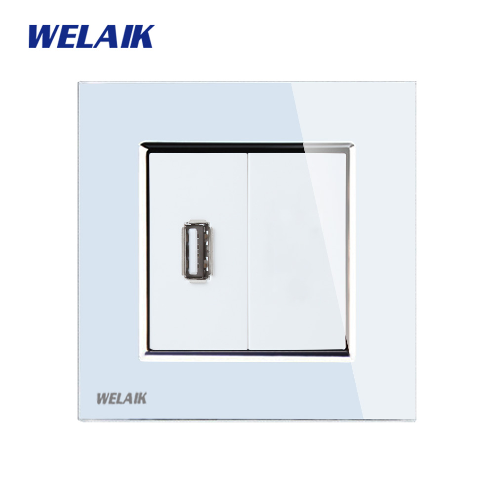 WELAIK Brand Free shiping Crystal Glass Panel 1Frame EU White USB Socket USB outlet USB charging power supply A18USW/B free shiping crystal