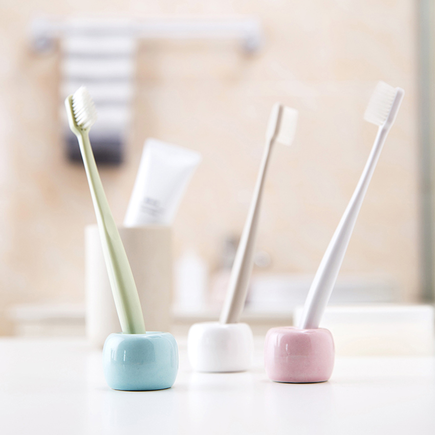 Round Toothbrush Holder Spoon Pen Storage Rack Ceramic Shelf Toothbrushes Multifunction Stand Bathroom Household Accessories image