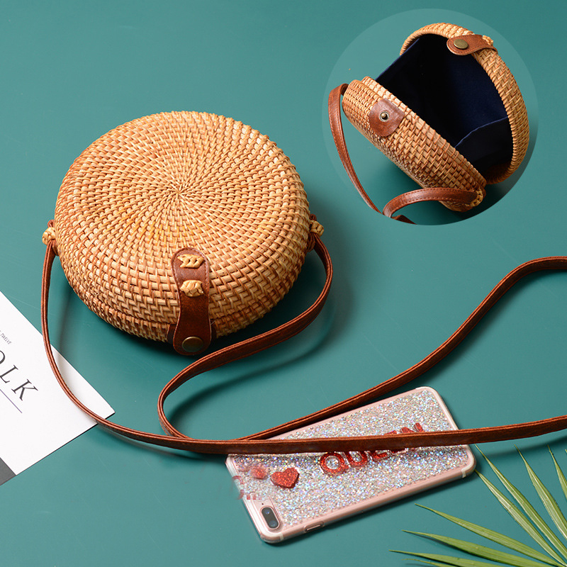 2018 ronda Bolsas de paja mujeres verano ratán tejido a mano playa Cruz cuerpo bolsa círculo bolso de Bohemia Bali caja Dropshipping