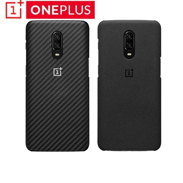 Original OnePlus 6T Karbon Case Material Aramid fiber PC Half round Back Cover Shell Sandstone Carbon Official For OnePlus6T