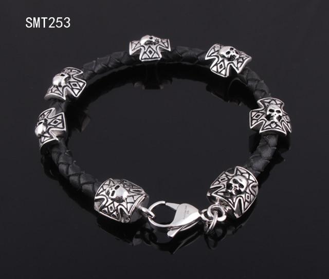 Braided leather bracelet stainless steel biker bracelet with cross &skull Free Shipping SMT253