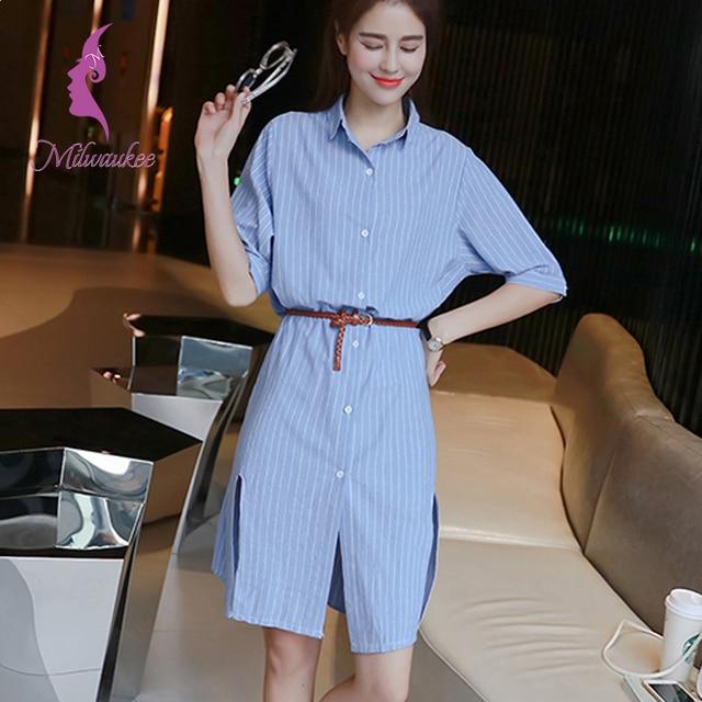 47f57405e468 Milwaukee Summer Casual Shirt Dress Turn Down Collar Open Slit Design Short  Sleeve Vertical Striped With Belt Dames Dress