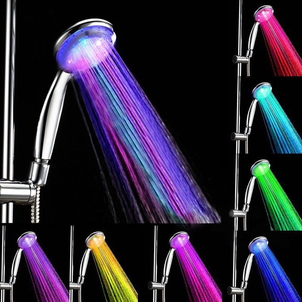 7 Color Changing Hand Hold Shower Head LED Romantic Light Water Home Bathroom Spray Head Faucet Glow chuveiro do banheiro ducha шапочка mad wave lux shower red m0517 02 0 05w
