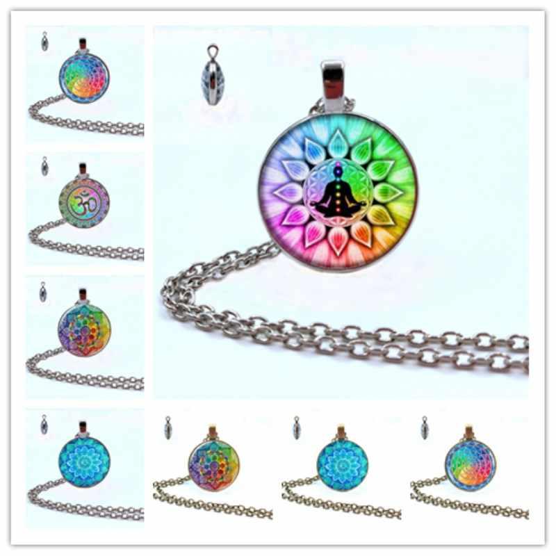 Arco Iris 7 Chakra misterioso Mandala collar arte flor de la vida cristal doble cara cabujón colgante collar mujeres Yoga joyería