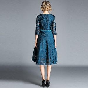 Image 4 - Borisovich Women Casual Dress New Brand 2018 Autumn Fashion Hollow Out Lace Big Swing Elegant Ladies Evening Party Dresses M843