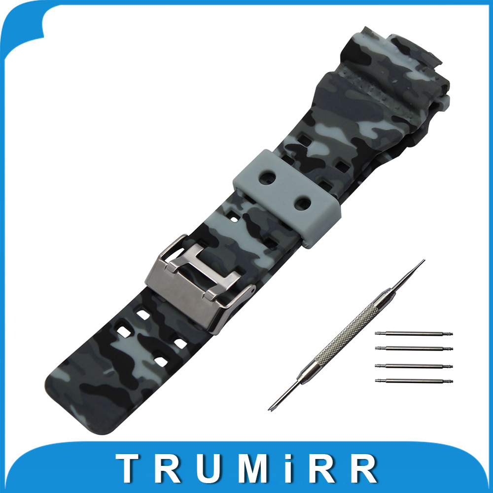 Silicone Rubber Watchband 16mm x 29mm for GA100/110/120/200 GD120 G8900 Convex Watch Band Camo Wrist Strap Steel Buckle Bracelet lukeni 24mm camo gray green blue yellow silicone rubber strap for panerai pam pam111 watchband bracelet can with or without logo