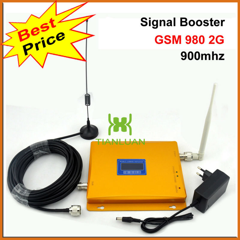 GSM 900MHz Mobile Phone GSM980 2G Signal Booster GSM900MHz Signal Repeater Cell Phone Amplifier with Antenna LCD Display/GoldenGSM 900MHz Mobile Phone GSM980 2G Signal Booster GSM900MHz Signal Repeater Cell Phone Amplifier with Antenna LCD Display/Golden