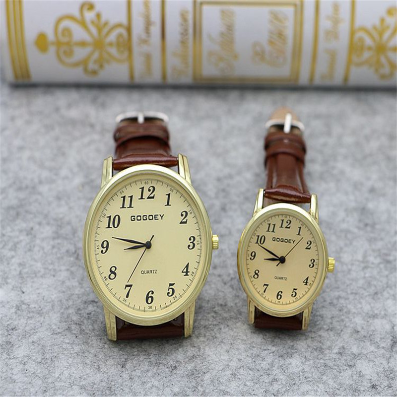 Luxury Gogoey Brand Leather Pair Watches Men Women Military Dress Quartz Wrist Watch Go506