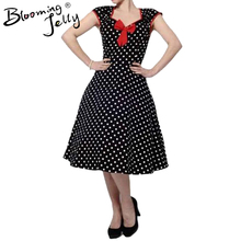 Flügelärmeln Kleid Polka Dot Print Vintage 60 S 50 S Rockabilly Cocktail Swing Retro 50ER Red Front Bogen Kleid Retro Hohe taille