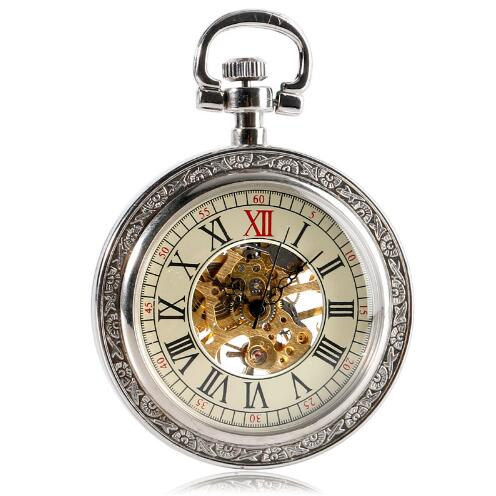 10pcs/lot Vintage Mechanical Pocket Watch Silver