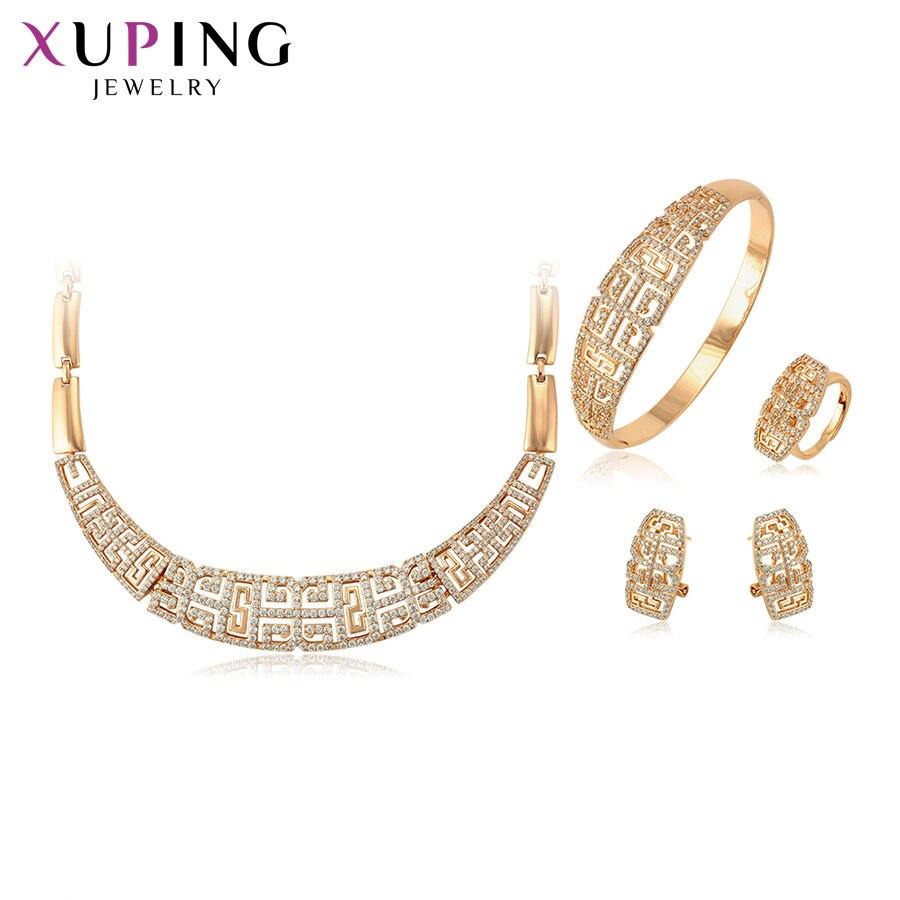 Xuping Mode Set Neue Ankunft für Frauen Geschenke Elegante Gold Farbe Überzogen Braut Imitation Schmuck Sets S124.3 65238-in Brautschmuck Sets aus Schmuck und Accessoires bei  Gruppe 1