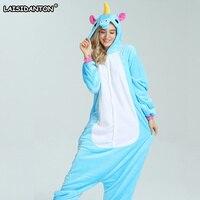 LAISIDANTON Blue Pink Rainbow Colored Unicorn Pajamas Adult Winter Hooded Pijama Unicornio Onesie Halloween Women Men