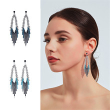 CRLEY long crystal tassel earrings for women teardrop shape wedding engagement jewelry vintage ethnic dangle drop