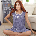 Pijamas Das Mulheres Pijamas de Verão Pijamas de Algodão Calções Colete Polka Dot Sleepwear Conjuntos Sala de Pijama das Mulheres Pijamas Mujer