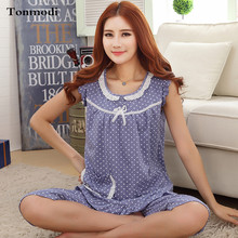Pyjamas Women Nightwear Summer Cotton Pajamas Vest Shorts Polka Dot Sleepwear Women's Lounge Pajama Sets Pijamas Mujer